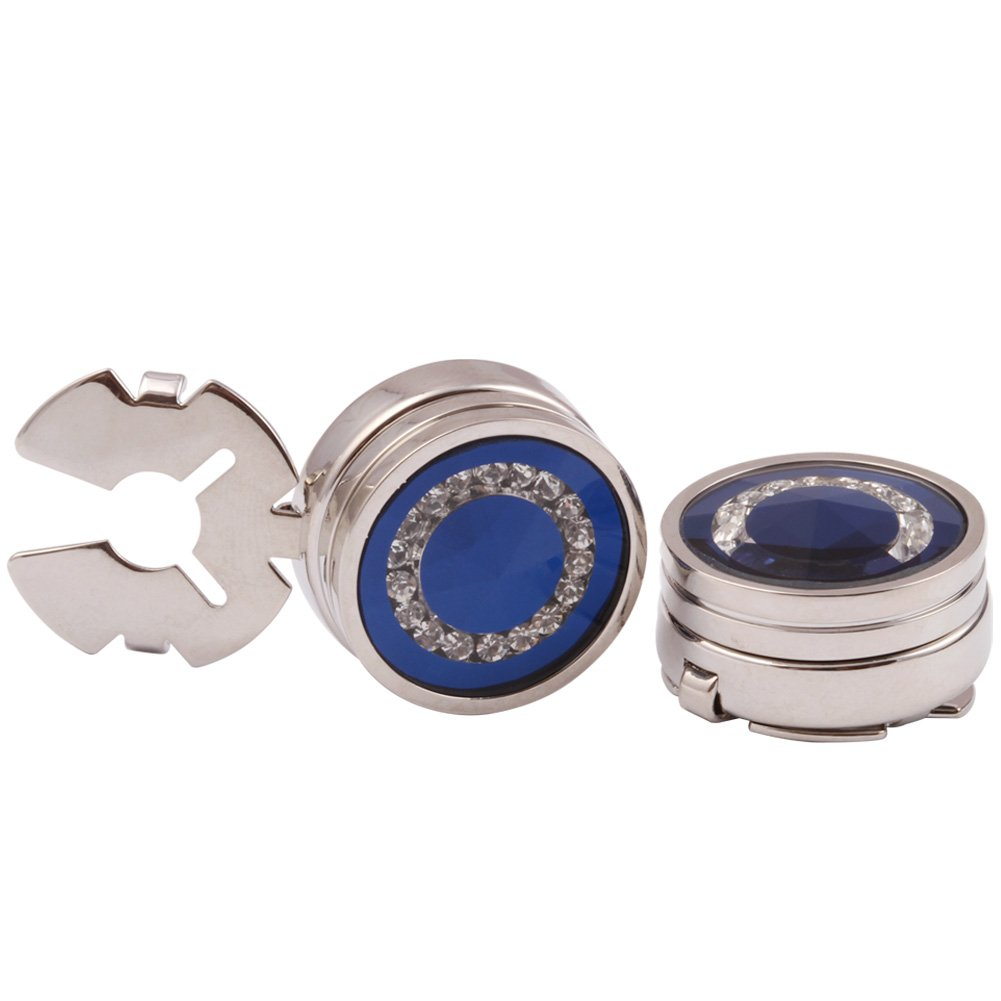 HJ Men's Jewelry Blue Glass with Crystal Round Button Cover