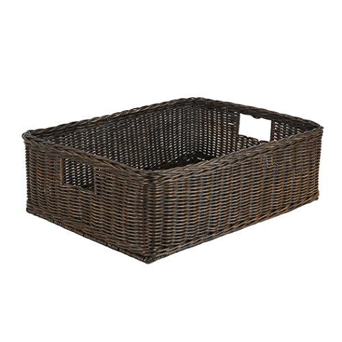 The Basket Lady Under The Bed/Basic Wicker Storage Basket, XL, 26 in L x 19.5 in W x 8 in H, Antique Walnut Brown (Under Bed Baskets)
