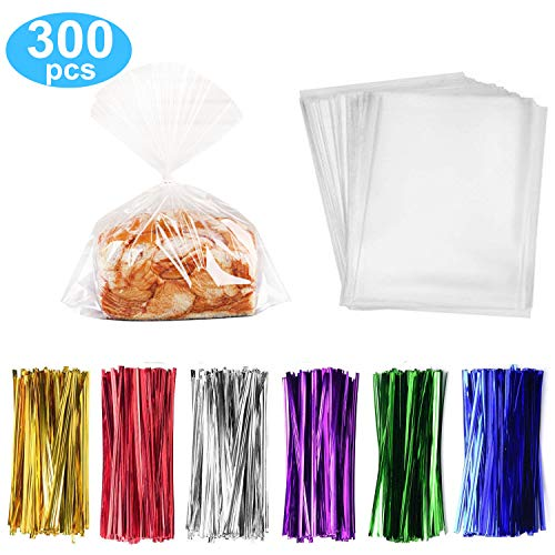 """300 Pack Clear Treat Bags Clear Candy Bags 10""""x13"""" Clear Treat Bags With 3.1"""" Twist Ties 6 Mix Colors - 1.4mils Thickness OPP Plastic Bags for Wedding Birthday Cake Pops Gift Supplies(10""""x13"""")"""