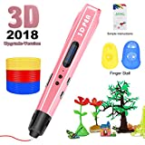 3D Printing Pen for Kids,Uvital 3D Drawing Doodle Printer Pen 【2018 Upgrade Version】Non-Clogging Bonus PLA Filaments Stencil eBook Best Gift for Children Adults Arts Crafts DIY Doodling(Pink)