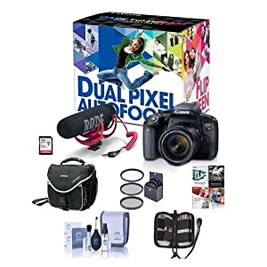 51eE8ADQzKL. SS300  - Canon EOS Rebel T7i DSLR Video Creator Kit with EF-S 18-55mm IS Lens, Rode VideoMic Go, 32GB SD Card - Bundle With Camera Case, 58mm Filter Kit, Memory Wallet, Cleaning Kit, Software Package