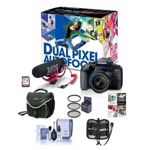 - Canon EOS Rebel T7i DSLR Video Creator Kit with EF-S 18-55mm IS Lens, Rode VideoMic Go, 32GB SD Card - Bundle With Camera Case, 58mm Filter Kit, Memory Wallet, Cleaning Kit, Software Package