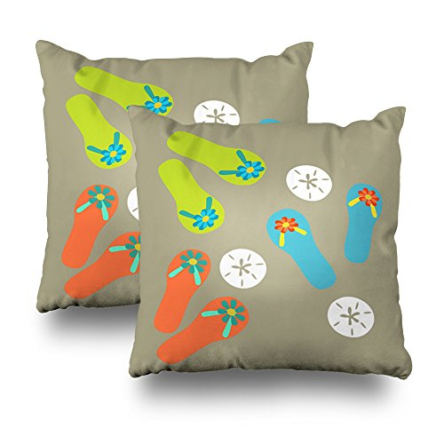 Decorativepillows Set of 2 18 x 18 inch Throw Pillow Covers,Beach Flipflops Art and Sand Dollar Summer Pattern Double-Sided Decorative Home Decor Indoor/Outdoor Garden Sofa Bedroom Car Kitchen Nice
