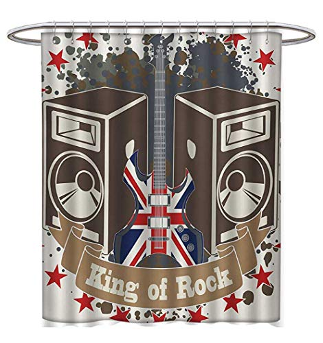(Anhuthree Popstar Party Shower Curtains Waterproof King Rock Label with Speakers Stars and Electric Guitar with British Flag Bathroom Set with Hooks W69 x L75)