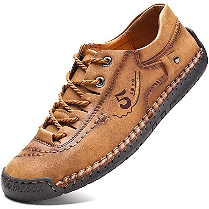 FiveStoresCity Men's Leather Casual Shoes, Comfortable Walking Shoe, Lightweight Summer Loafers for Driving, Traveling, Dress, Breathable Slippers