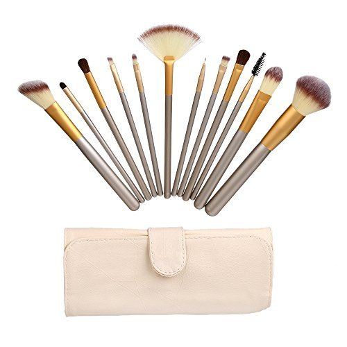 Angeltyr Makeup Brushes Set - Foundation Contour Eyebrow Eyeliner Eyelash Lip Powder Brush (12pcs, Champagne)