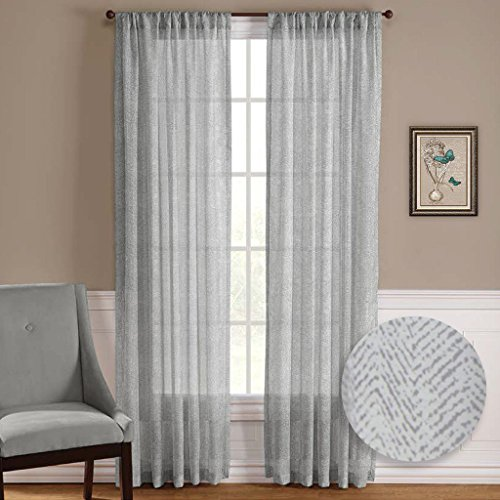 Nicetown One Pair Zig zag Chevron Pattern Sheer Window Curtains / Drapes (Pole Top,50 Width x 63 Length,Grey-Taupe)