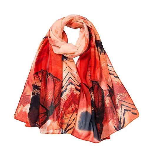 LIULIULIU Fashion Fantasy Women Leaves Printing Long Soft Wrap Scarf Ladies Shawl Scarves (Orange) -