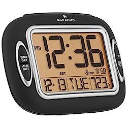 MARATHON CL030051BK Atomic Alarm Clock With Auto-Night Light, Temperature & Date - Batteries Included