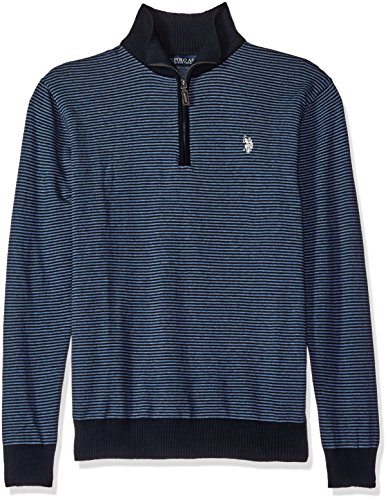 U.S. Polo Assn. Men's All Over Fine-Striped 1/4 Zip, Navy, Large ()