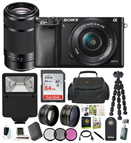 Sony Alpha a6000 24.3MP Mirrorless Camera 16-50mm & 55-210mm Zoom Lens (Black) and 64GB Accessory ()