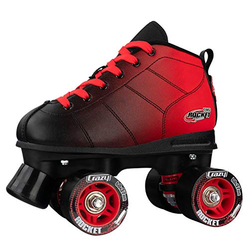 Crazy Skates Rocket Roller Skates for Boys and Girls Great Beginner Kids Skates with Adjustable Motion Black and Red Patines