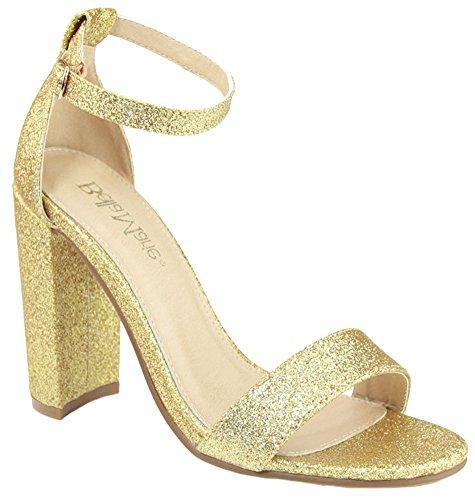 High Bella Gold Marie Glitter Heel Block Strappy Sandal Women's qHxIvCwrfH