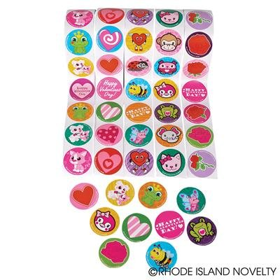 Valentine Stickers Party Favors (5 Rolls ~ Valentine Stickers ~ 100 Stickers Per Roll ~ 500 Stickers Total ~ Approx. 1.5