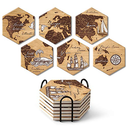 Absorbing Stone Hexagon World Map Coasters for Drinks by Teivio - Cork Base,with Holder, Unique Present for Friends, Men, Women, Birthday Housewarming Gifts, Apartment Kitchen Room Bar Decor, Set of 6