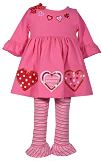 c52636318523a Bonnie Jean Baby Toddler and Little Girl's Valentine's Day Pink and Red  Heart Tunic Shirt and