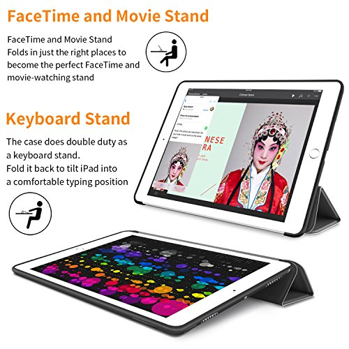iPad Pro 10.5 Soft Back Case, DTTO Ultra Slim [Anti-Scratch] Lightweight Smart Case Trifold Cover Stand with Flexible Soft TPU Back Cover for iPad Pro 10.5 inch [Auto Sleep/Wake],Black by DTTO (Image #8)