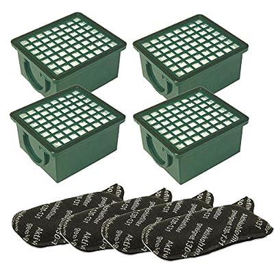 1Set Filtre 4Filtre HEPA H 12Vert + 4Filtre à charbon compatible avec Vorwerk Kobold 130+ 131+ SC Aspirateur