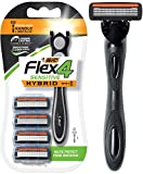 BIC Flex 4 Sensitive Hybrid Men's 4-Blade Razor, 1 Handle, 4...