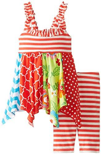 Bonnie Baby Baby-Girls Newborn Stripe To Multi Print Legging Set, Coral, 6-9 Months