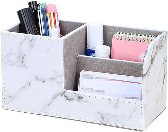 Caja de Almacenamiento de Archivos Oficina de múltiples funciones de escritorio Cuero Teléfono ordenado del organizador de negocios pluma de la tarjeta móvil a distancia Soporte del control de la caja: Amazon.es: