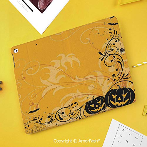 Slim Case for Samsung Galaxy Tab S4 T830 T835 SM-T837 10.5 Protective,Halloween Decorations,Carved Pumpkins with Floral Patterns Bats and Webs Horror Artwork,Orange -