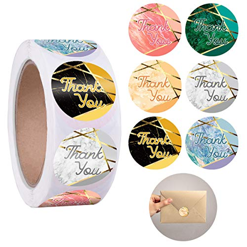 """Paperkiddo 1.5"""" Thank You Stickers 600 Labels Per Roll with 6 Bright Gold Marble Geometric Design Thank U Stickers for Wedding/Padded Envelope/Cookie Bags/Gift Tags/Homemade Papers Cute Decorative"""