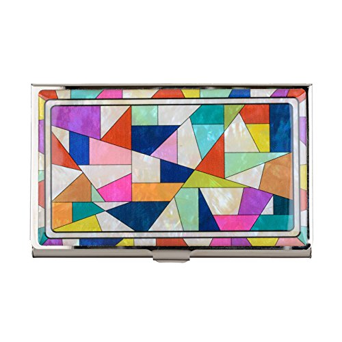 Mother of Pearl Business Name Card Case Stainless Steel Holder Credit ID Wallet (Patchwork)