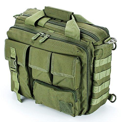 GES Multifunction Mens Outdoor Tactical Nylon Shoulder Laptop Messenger Bag Briefcase Handbags Large Enough for 14' Laptop/Camera/iPad (ArmyGreen)