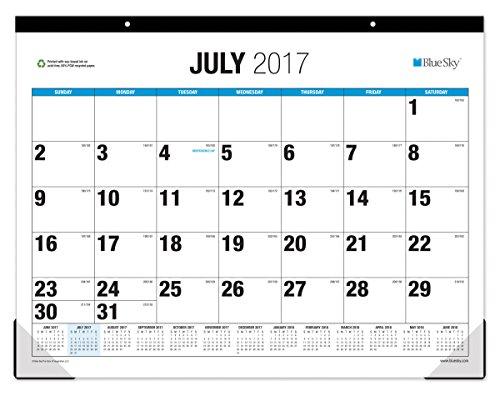 Blue Sky 2017-2018 Academic Year Monthly Desk Pad Calendar, 22' x 17', Classic