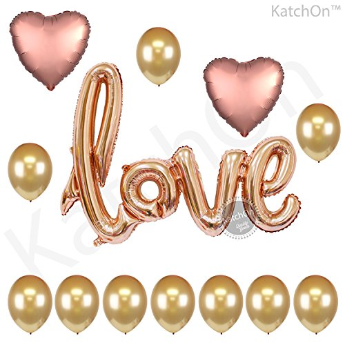 Rose Gold Love Balloons Kit - Valentines Day Decorations and Gift for Him or Her - Rose Gold Foil Heart Balloons - Rose Gold Decorations - Valentines Balloons, Wedding, Bridal Shower Decor