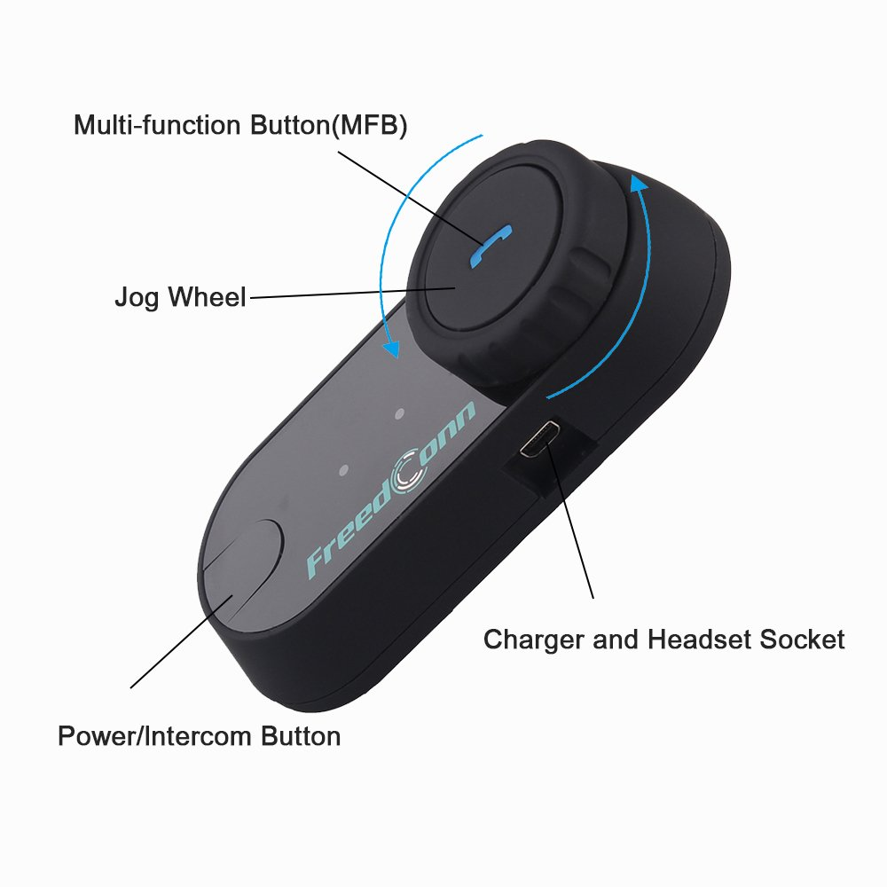 Impermeabile Fino a 800 Citofono per motociclisti per 2-3 piloti Cuffie per Casco Interfono moto Bluetooth FreedConn TCOM-SC Auricolare Communicator per Casco del Motociclo Bluetooth Intercom