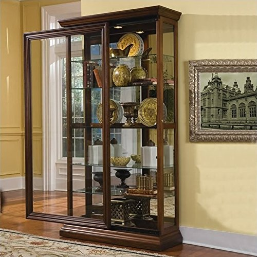 (Pulaski Two Way Sliding Door Curio, 43 by 16 by 80-Inch, Brown)