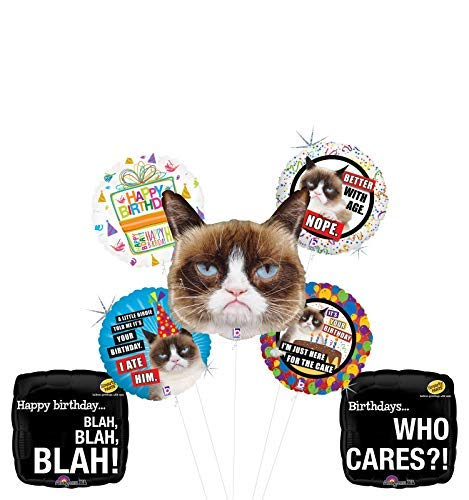 Grumpy Cat Birthday Party Supplies Who Cares Balloon Bouquet Decorations (Best Of Grumpy Cat)