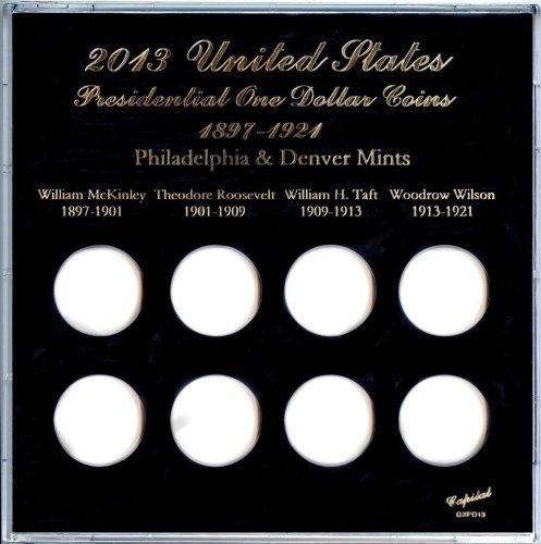 "Capital Plastics 6.5"" x 6.5"" Galaxy 8-Coin ""United States Presidential One Dollar Coins"" 1897-1921 - Black - 2013"