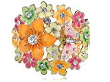 Alilang Womens Multicolored Enamel Painted Butterfly Flower Cluster Clear Rhinestone Bracelet Cuff