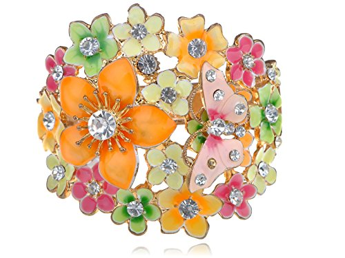 Alilang Womens Multicolored Enamel Painted Butterfly Flower Cluster Clear Rhinestone Bracelet Cuff Multi Colored Rhinestone Bracelet
