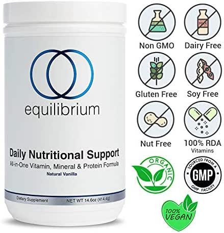 Equilibrium Nutrition-Once Daily Nutritional Support Protein Powder & Meal Replacement Vanilla Shakes. Includes Multivitamins, Minerals, Electrolytes, and Antioxidants, Organic, Dairy Free. 14.6 oz