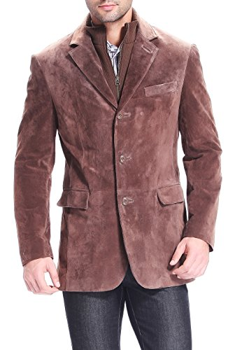 BGSD Men's Brett Suede Leather Blazer With Zip-Out Bib - Brown XLT by BGSD