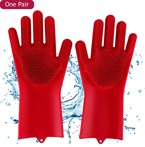 Reusable Dishwashing Silicone Gloves with Wash Scrubber for Cleaning, Pet Hair Care, Kitchen, Bathroom, Toilet & Car Wash - One Pair (Left & Right) - Red by COLORGLOW