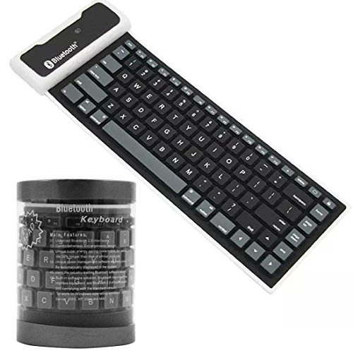 Nacome Silicone Bluetooth Keyboard ,Bluetooth Wireless Waterproof Silicone Keyboard For iPad 2 3 4 Mini For Samsung (Black) by Nacome