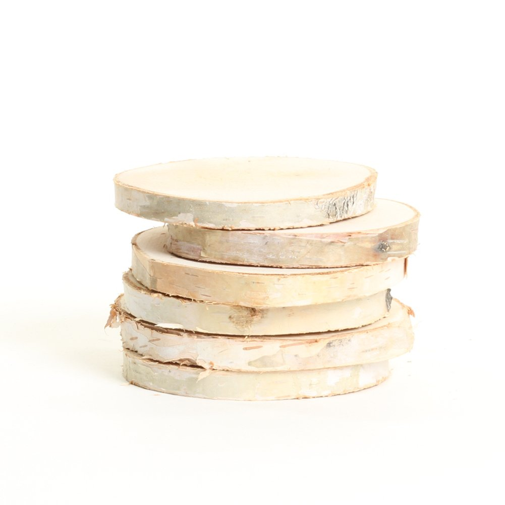 Koyal Wholesale Birch Wedding Disc Rounds, Birch Slices, Real Wood Decorations, Centerpieces, Log Decor (3-4'', 6-Pack)