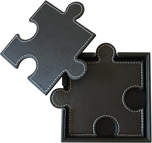 Drink Coasters (Set of 6), Puzzle Leather Design, Suitable for Wine, Beer, Beverages and Bar Use