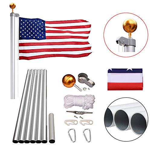 Heavty 20FT Sectional Flag Pole Kit, Heavy Duty Aluminum American Flagpole with 3'x5' Polyester US Flags & Gold Ball Top for Outdoor Garden Residential or Commercial, Silver