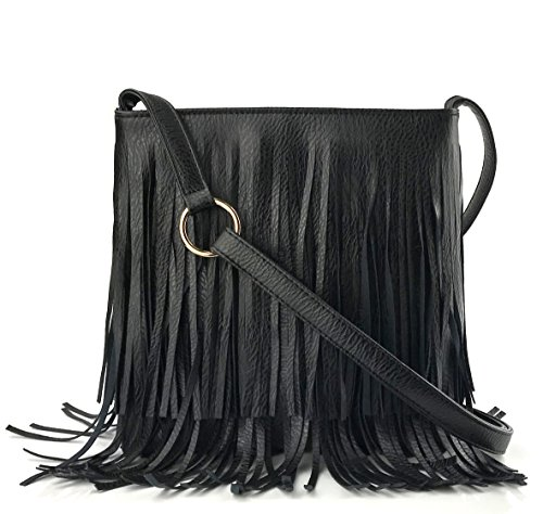 - Glossy Fringe Cross Body Shoulder Bag Tassel Womens Purse(Black)