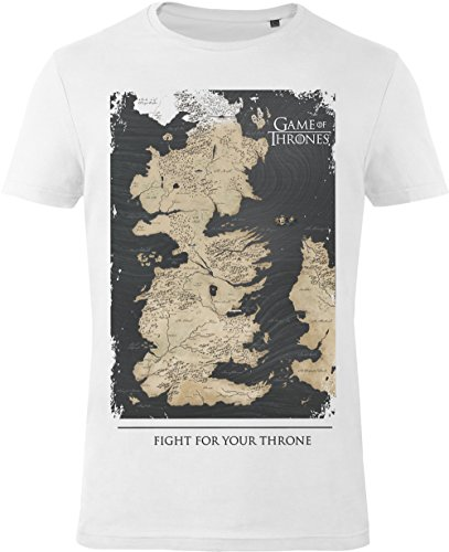 GOZOO Game of Thrones T-Shirt Herren Westeros Map - Fight For Your Throne 100% Baumwolle Weiß