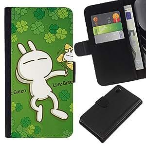 Ihec-Tech / Flip PU Cuero Cover Case para Sony Xperia Z3 D6603 / D6633 / D6643 / D6653 / D6616 - Cute Live Green Rabbit