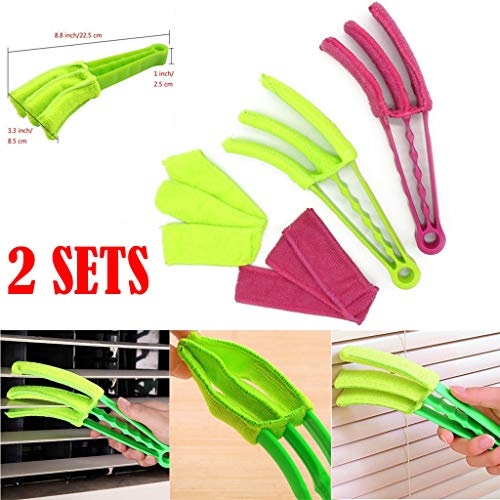 (AIUSD Cleaner, 2Set Removable Hand Washable Microfibre Fabric Window Duster Window Cleaning Bru)