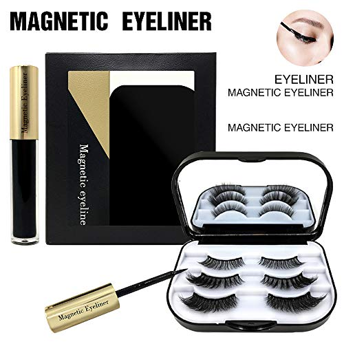 XinDio Magnetic Eyelashes with Eyeliner Set, 3 Pairs Different 3D Magnetic Eye Lashes, Easy to use without using Tweezer