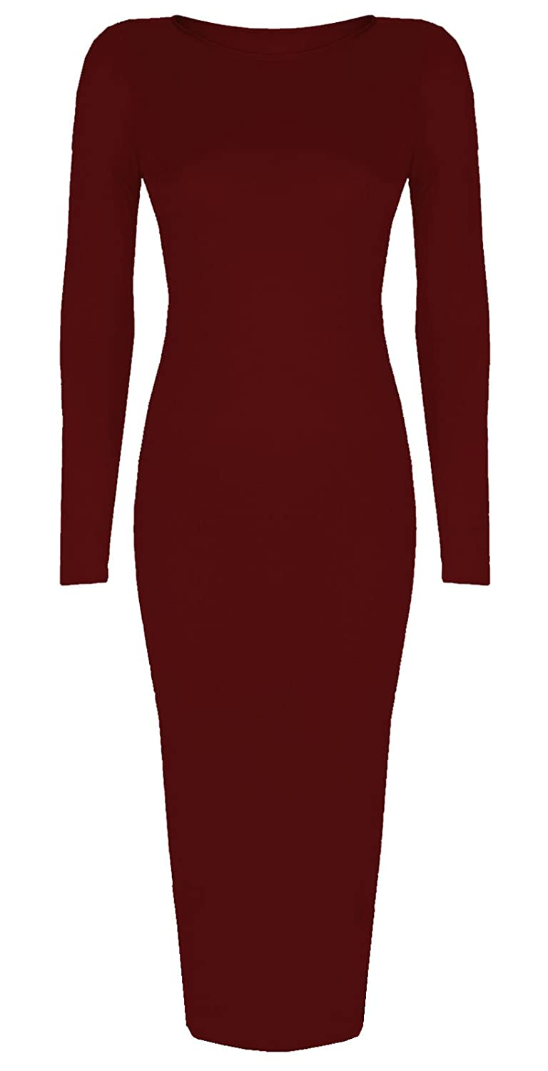 Baleza Women's Inspi Long Sleeve Bodycon Midi Calf Length Dress